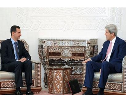 صور: جون كيري في دمشق لبحث العلاقات السورية-الامريكية / سياسة