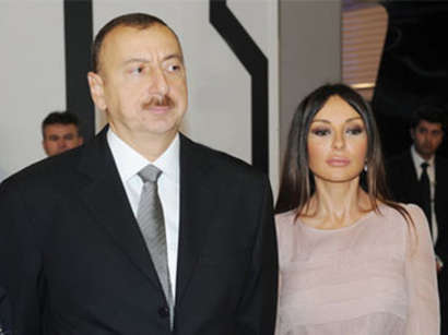 Ilham Aliyev, his spouse watching competitions as part of 2017 Formula 1 Azerbaijan Grand Prix