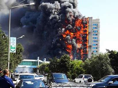 صور: عاجل - حريق قوي في عاصمة اذربيجان / أحداث