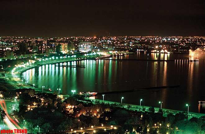 Bakı şəhərinin axşam saatlarında yeni görünüşü – fotosessiya