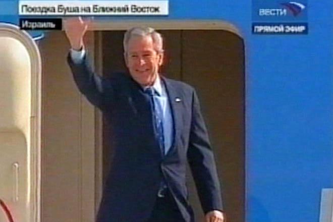 US President George W Bush arrives in   Israel (video)