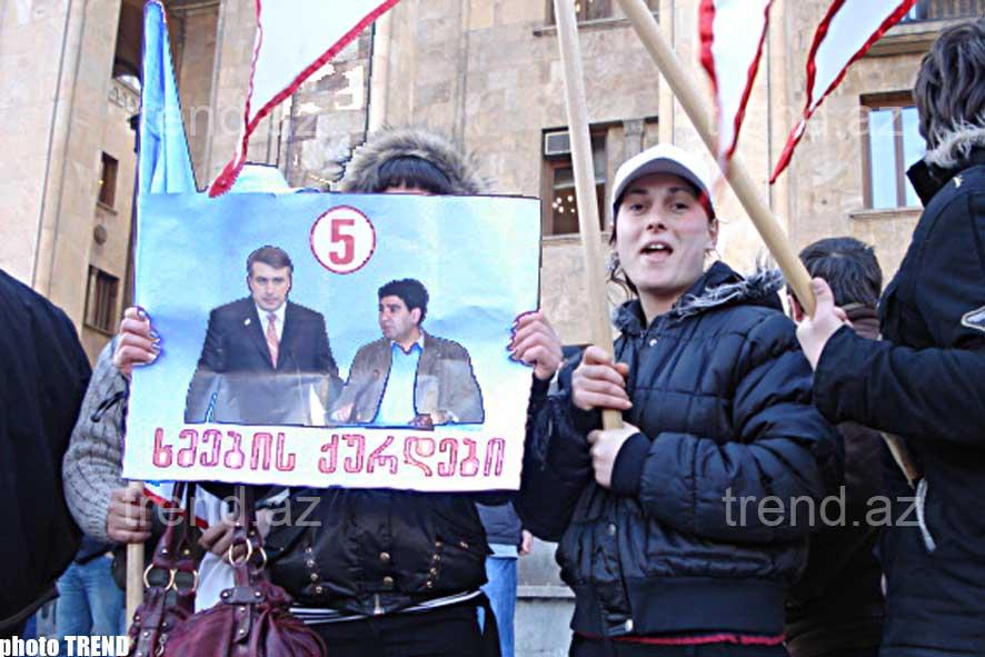 Tbilisidə Gürcüstan müxalifətinin 15 fevral mitinqi - fotosessiya