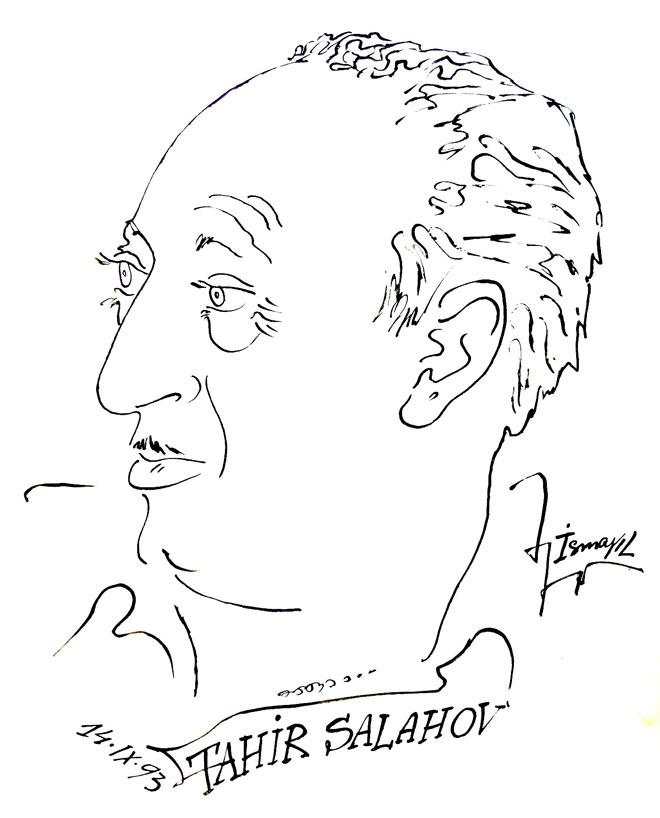 Дружеский шарж к 80-летию Таира Салахова от художника Исмаила Мамедова