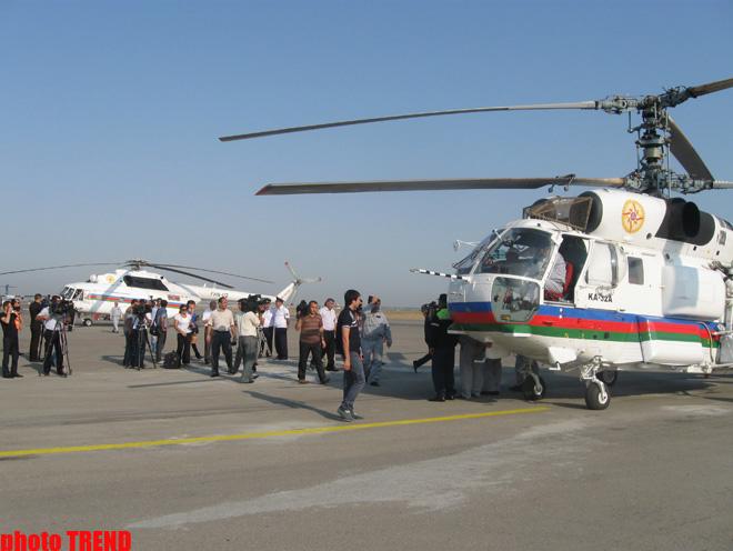 Azərbaycan Fövqəladə Hallar Nazirliyinin iki helikopteri yanğınların söndürülməsində iştirak etmək üçün Rusiyaya uçub (FOTO)