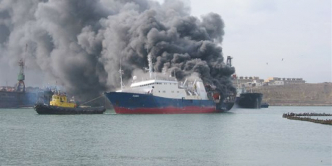 Sərnişin gəmisində YANĞIN - Yaralananlar var