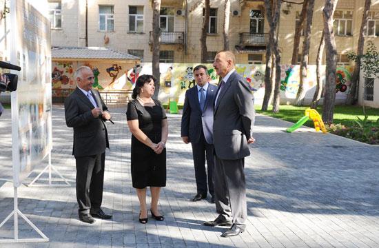 Azərbaycan Prezidenti yenidənqurmadan sonra istifadəyə verilmiş 259 nömrəli uşaq bağçasındakı şəraitlə tanış olub (FOTO)