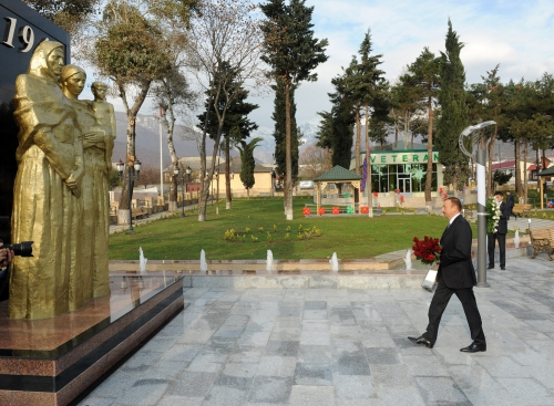 Azerbaijani President inaugurates Park of Heroes in Oguz (PHOTO)