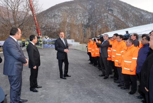 Azerbaijani President attends groundbreaking ceremony of water and sewerage system in Gakh region (PHOTO)