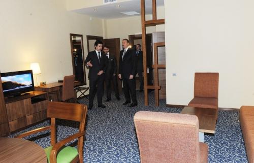 Azerbaijani president inaugurates hotel in Gakh region (PHOTO)