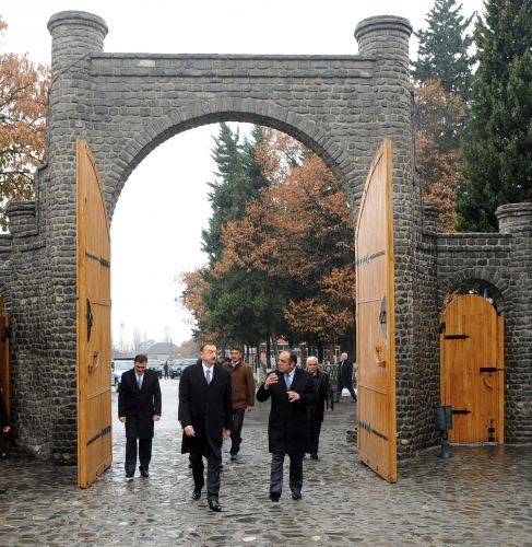 Azerbaijani president inspects 'Icheribazar' tower complex in Gakh region (PHOTO)