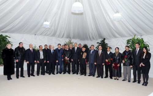 Azerbaijani President attends inauguration ceremony of residential building for Karabakh war disabled people and martyr families in Gabala  (PHOTO)