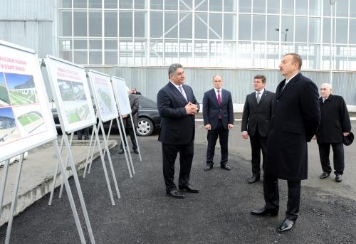 Azerbaijani President inspects construction work at stadium and training camp of Gabala football club (PHOTO)