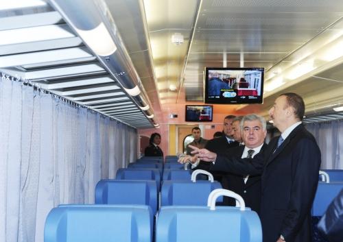 Azerbaijani President gets acquainted with passenger cars repaired in Slovakia for Azerbaijan Railways (PHOTO)