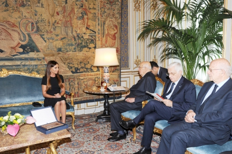 Azərbaycanın birinci xanımı İtaliyanın Prezidenti ilə görüşüb (FOTO)