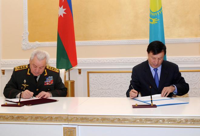 Azerbaijan, Kazakhstan approve cooperation plan in defense sphere (PHOTO)