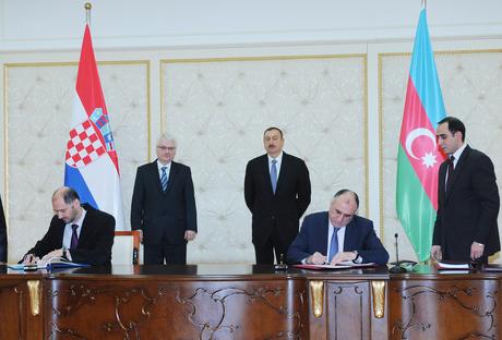 В Баку подписаны азербайджано-хорватские межправительственные документы (ФОТО)