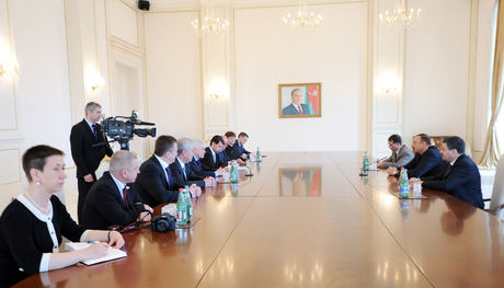 İlham Əliyev Ukrayna Ali Radasının sədrini qəbul edib