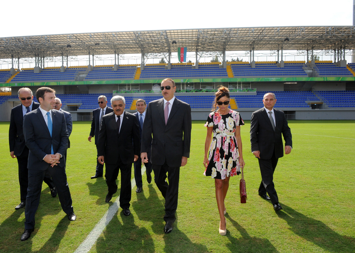 Azerbaijani President and his spouse open 8 KM stadium in Baku (PHOTO)