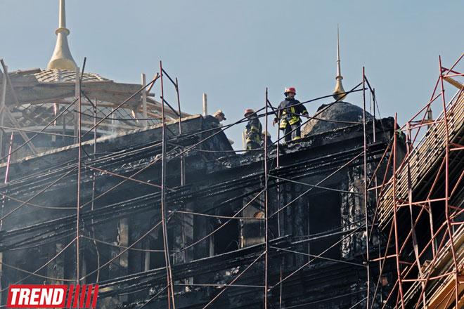 Bakıda Qara Qarayev adına Uşaq Xəstəxanasının həyətində tikintisi başa çatmayan binada yanğın söndürülüb (ƏLAVƏ OLUNUB-3)(FOTO)