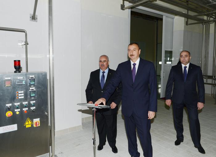 Prezident İlham Əliyev Tərtərdə süd emalı zavodunun açılışında iştirak edib (FOTO)