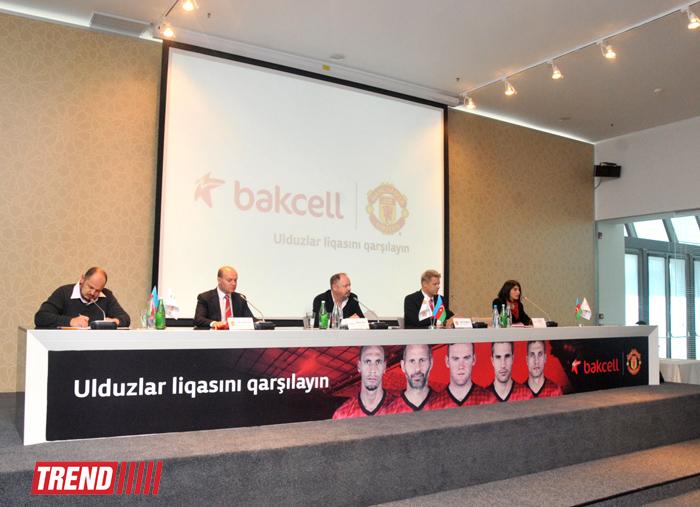 """Azərbaycanın """"Bakcell"""" mobil rabitə operatoru  """"Mançester Yunayted""""lə saziş imzalayıb (FOTO)"""