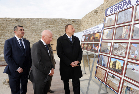 """Azerbaijani President and his spouse visit newly-redeveloped """"Ateshgah Temple"""" State Historical Architectural Reserve (PHOTO)"""