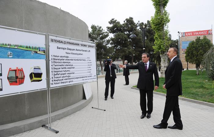 Prezident İlham Əliyev Mingəçevirdə yenidənqurma işlərinin aparıldığı Sahil parkı ilə tanış olub (FOTO)