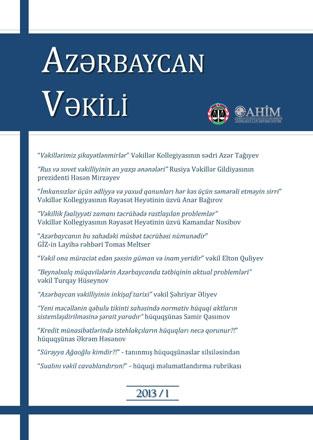 """""""Azərbaycan vəkili"""" jurnalı nəşr edilib"""
