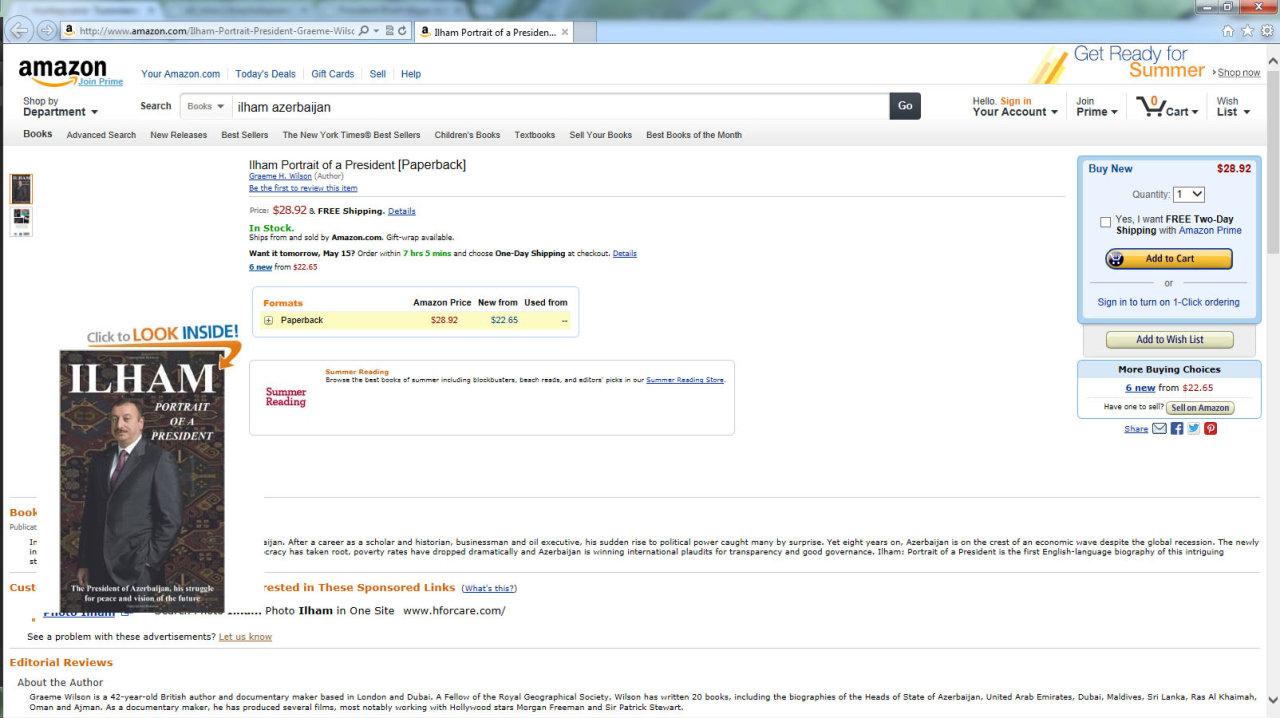 Книга «Ильхам: портрет Президента» появилась на сайте Amazon