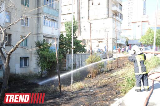 Bakıda baş verən yanğının yaşayış binasına keçməsinin qarşısı alınıb (FOTO)