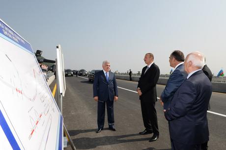 President Ilham Aliyev opens Shaki-Gakh stretch of Shaki-Gakh-Zagatala highway after reconstruction (PHOTO)