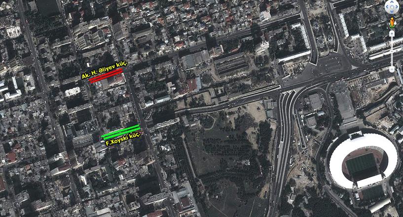 Bakının mərkəzi yollarından birində hərəkət məhdudlaşdırıldı (FOTO)