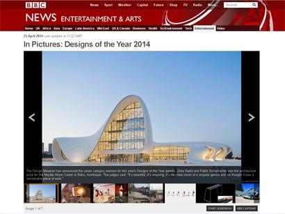 """Heydər Əliyev Mərkəzi """"Arxitektura"""" nominasiyasında nüfuzlu """"Designs of the Year-2014"""" mükafatının sahibi olub (FOTO)"""