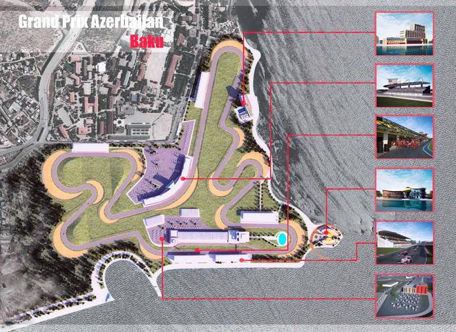 """Bakıda """"Formula-1"""" yarışlarının keçirilməsi üçün avtodromun konseptual layihəsi yaradılıb (FOTO)"""