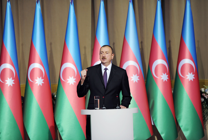 Azerbaijani president and his spouse attend official reception on occasion of Republic Day
