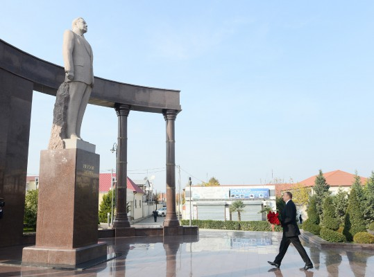 Azerbaijani president visits country's Shamkir district