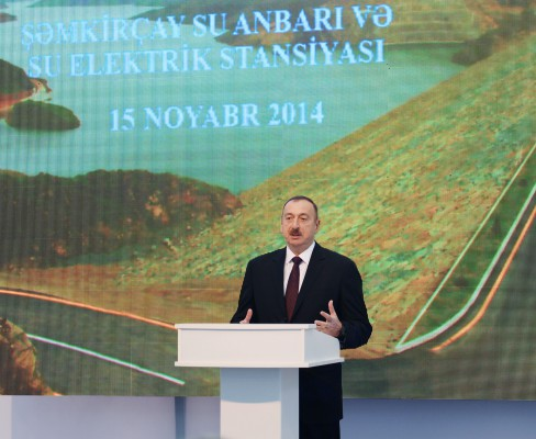 President Ilham Aliyev attended the opening of Shamkirchay water reservoir (PHOTO)
