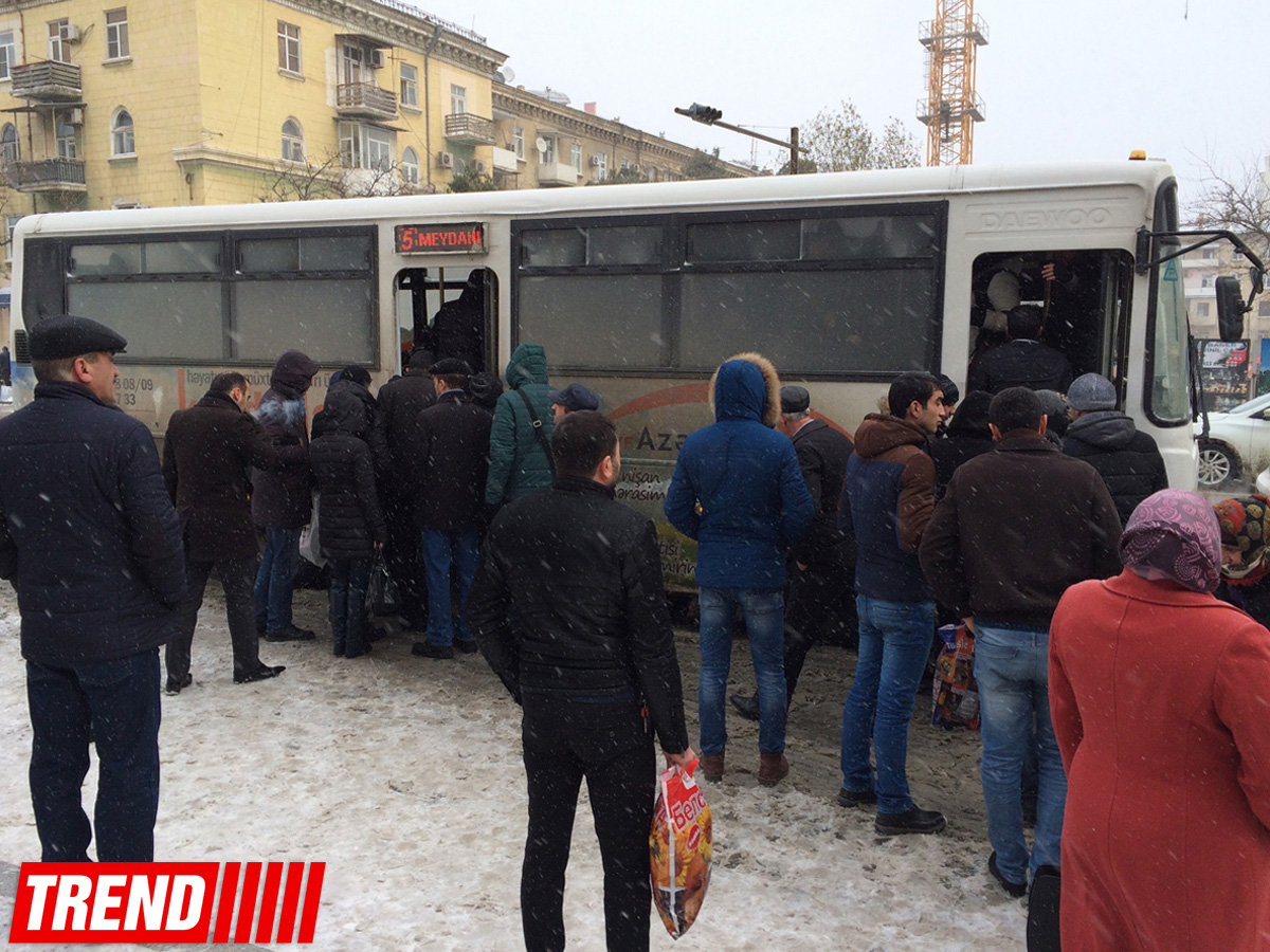 Снегопад внес коррективы в жизнь Баку (ФОТО)