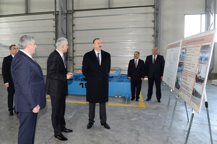 Azerbaijani President attended the opening of a concrete plant in Sumgayit
