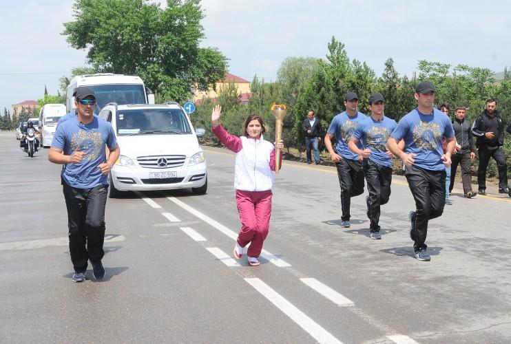 """""""Bakı-2015"""": Birinci Avropa Oyunlarının məşəli Şirvanda  (FOTO + VİDEO)"""