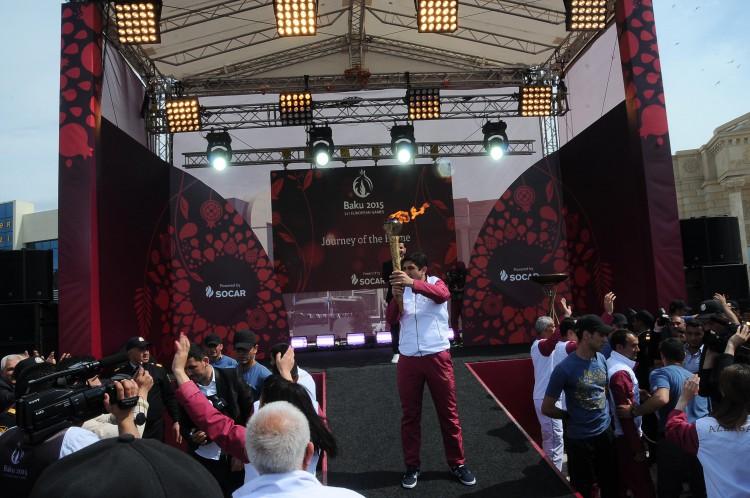 I Avropa Oyunlarının məşəli Saatlıda alovlandırıldı (FOTO,VİDEO)