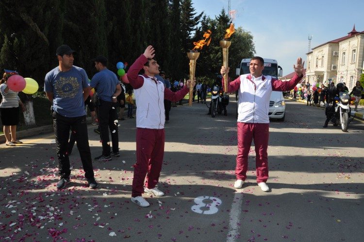 Avropa Oyunlarının məşəli Samuxa gətirilib (FOTO)