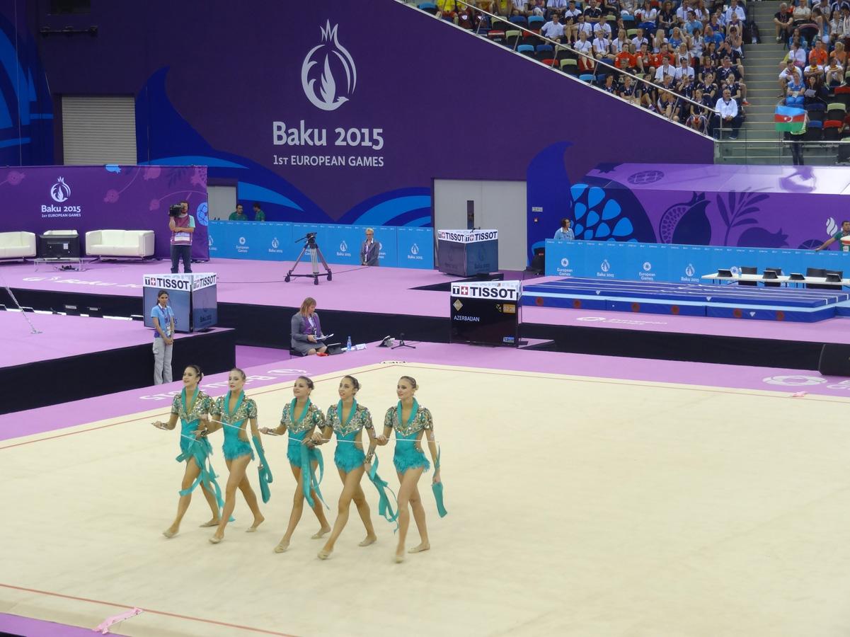 Азербайджанские гимнастки выступили с лентами в групповых упражнениях  в рамках Евроигр (ФОТО)