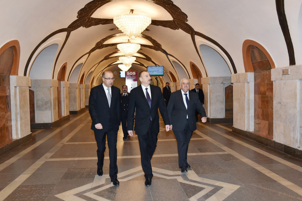 President Aliyev attends opening of expanded metro station in Baku