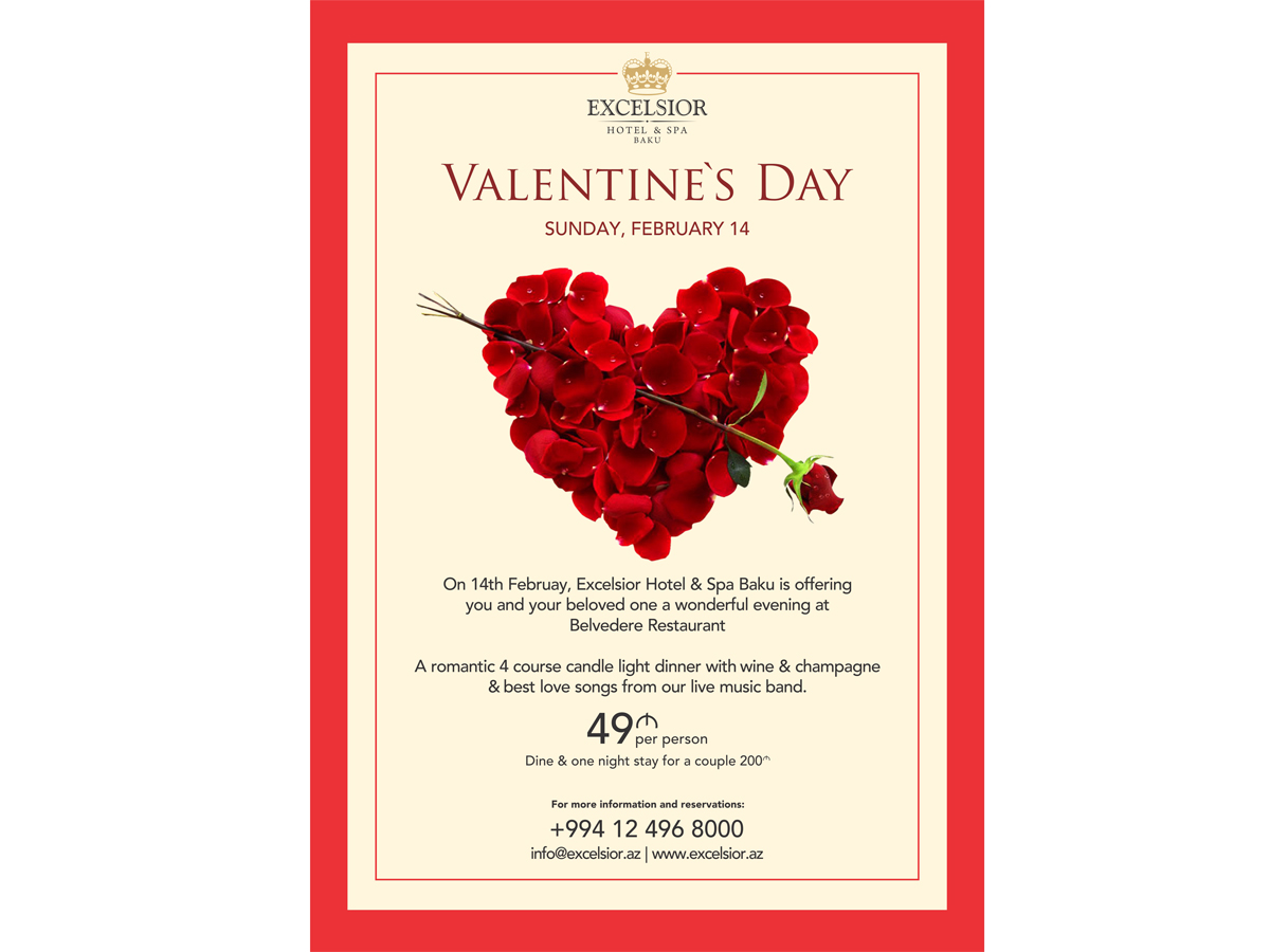 Special st valentine s day dinner to be held at excelsior for What should i make for valentine s dinner