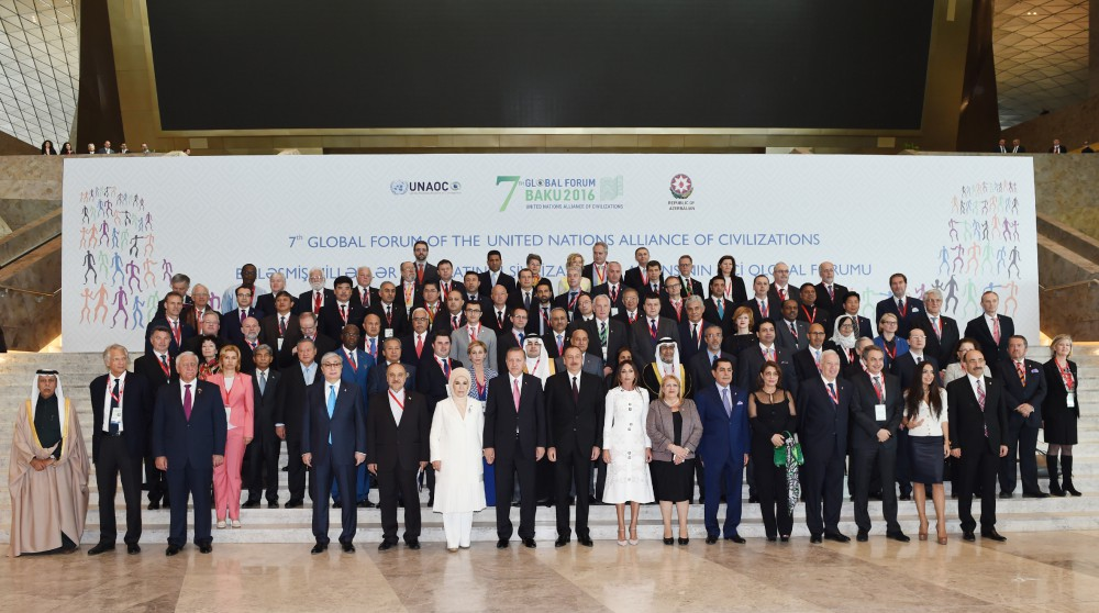 President Ilham Aliyev, his spouse attending 7th UNAOC Global Forum