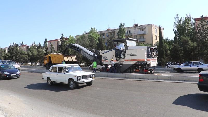 Qara Qarayev prospektində təmir-tikinti işləri aparılır (FOTO/VİDEO)
