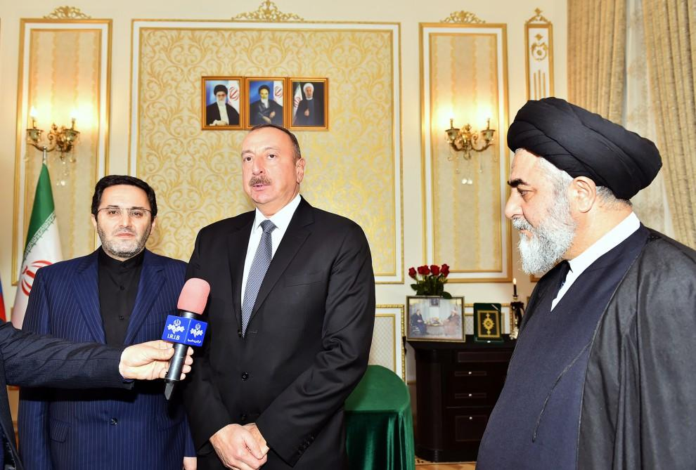 Ilham Aliyev visits Iranian embassy in Azerbaijan (PHOTO)