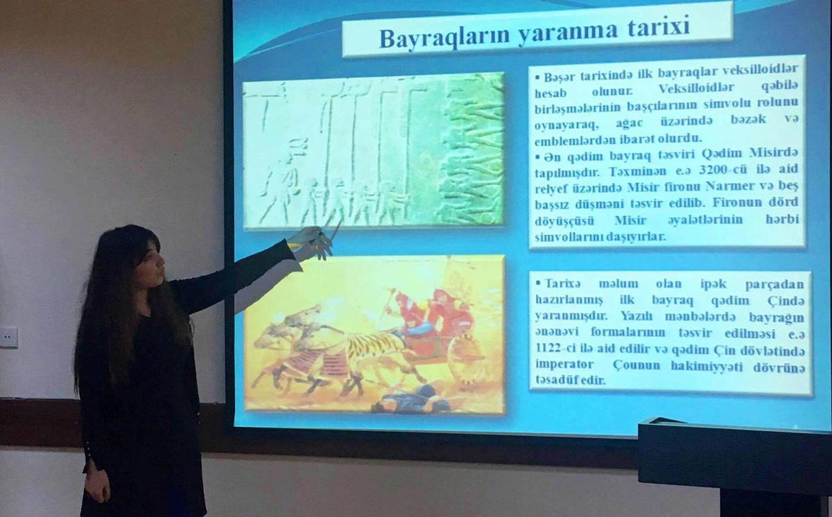 """Məktəblərdə """"Dövlət  bayrağının tarixi"""" mühazirələri keçirilir (FOTO)"""