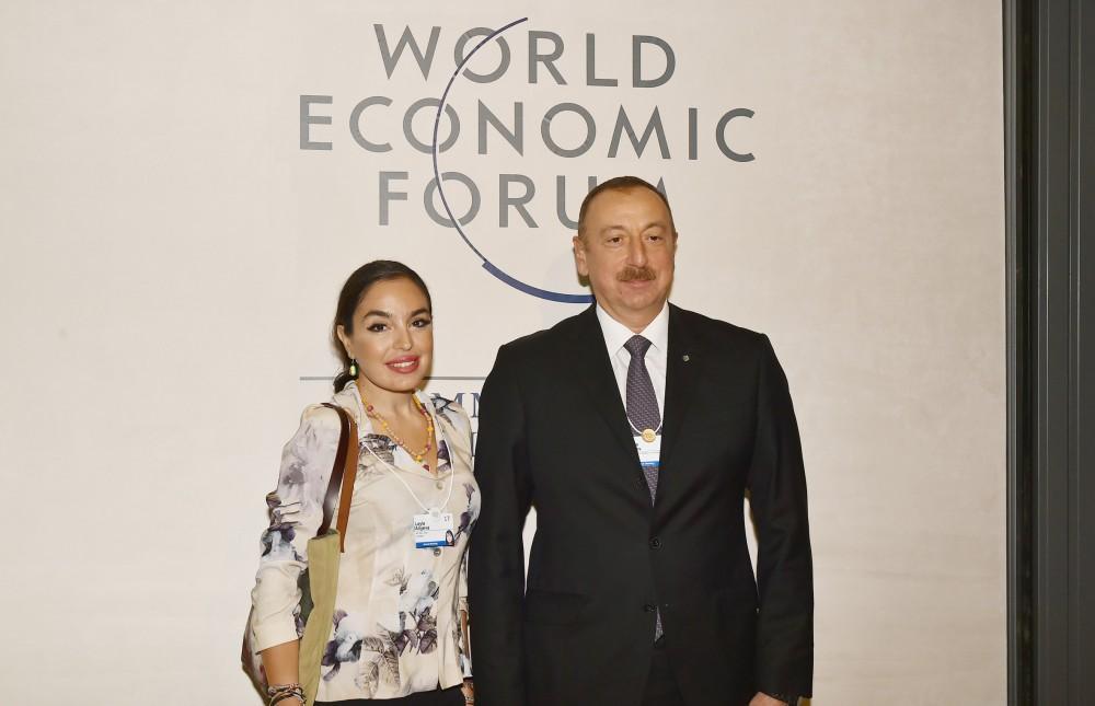 Heydər Əliyev Fondunun vitse-prezidenti Leyla Əliyeva Dünya İqtisadi Forumunun keçirildiyi Konqres Mərkəzində olub (FOTO)